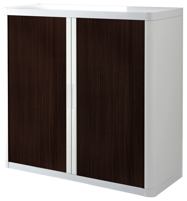 """Paperflow EasyOffice Storage Cabinet, 41"""" Tall with Two Shelves, White and Wenge - Contemporary ..."""
