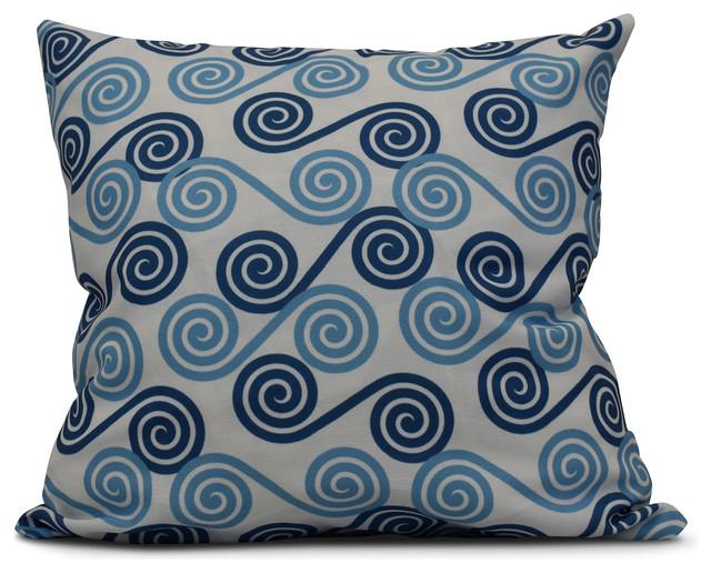"Rip Curl, Geometric Print Outdoor Pillow, Blue, 16""x16"""