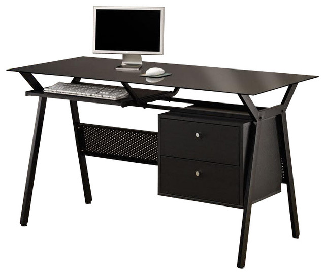 Computer Desk Contemporary black simple metal glass 2 storage drawers pullout keyboard shelf
