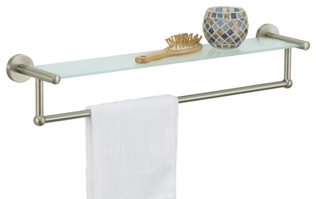 Glass Shelf With Towel Bar, Satin Nickel.