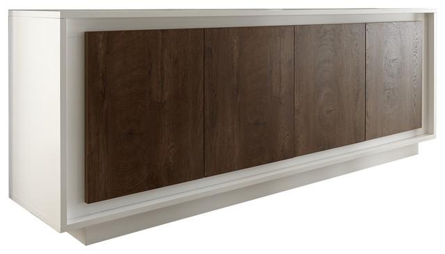 Frame 4-Door Sideboard, White and Dark Oak