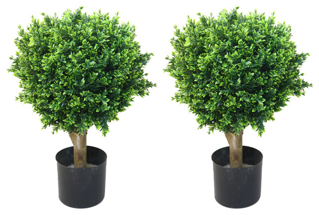 "Artificial Hedyotis Single Ball Topiary Trees, 24"", Set Of 2 By Pure Garden. -1"