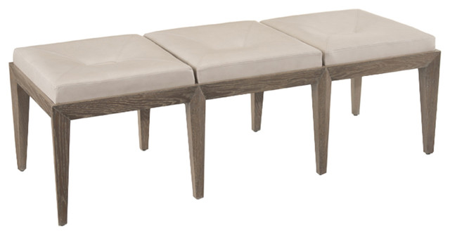 John Richard Luxe Bench With Textured Leather Amf-1247v51-Ltgy-As.