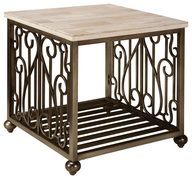 Elegant Standard Furniture Toscana End Table With Marble Top U0026 Antique Pewter Metal  Base