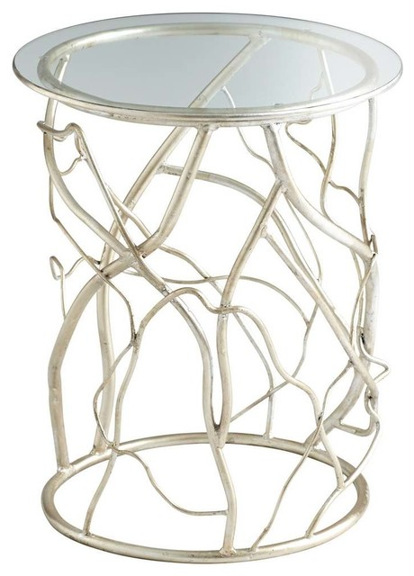 High Quality Cyan Design Twisted Love Round Glass Top End Table, Silver Leaf  Contemporary Side