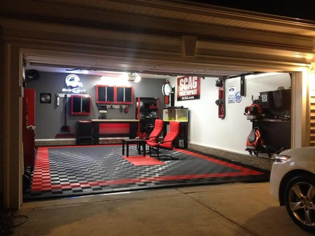 Man Cave 2 Car Garage : Racedeck garage flooring home into mancave