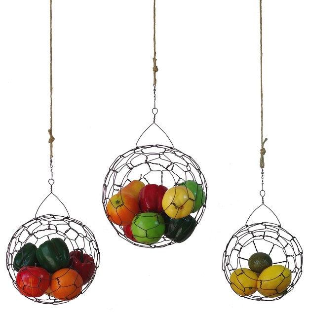 Handmade Hanging Wire Fruit Or Vegetable Sphere Basket, Set Of 3  Contemporary Fruit