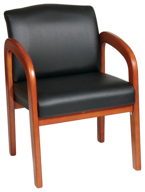 Work Smart Wd Collection Black Faux Leather Oak Finish Wood Visitors Chair Transitional Armchairs