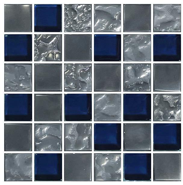 "12""x12"" Glass Tile Blends Titanium Series, Navy"
