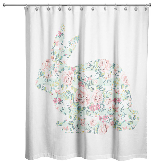 Mint Floral Tranquil Rabbit Shower Curtain