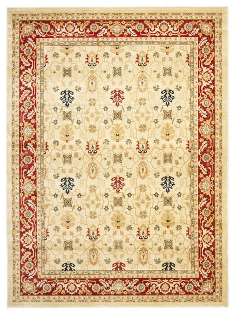 Rug Red With Synthetic Fiber 11 X8 Traditional Area