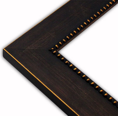 Modern Beaded Blackgold Picture Frame Solid Wood Traditional