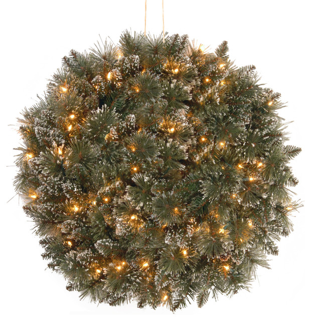 """16"""" Glittery Bristle Pine Kissing Ball, Battery Operated Warm White Led Lights."""