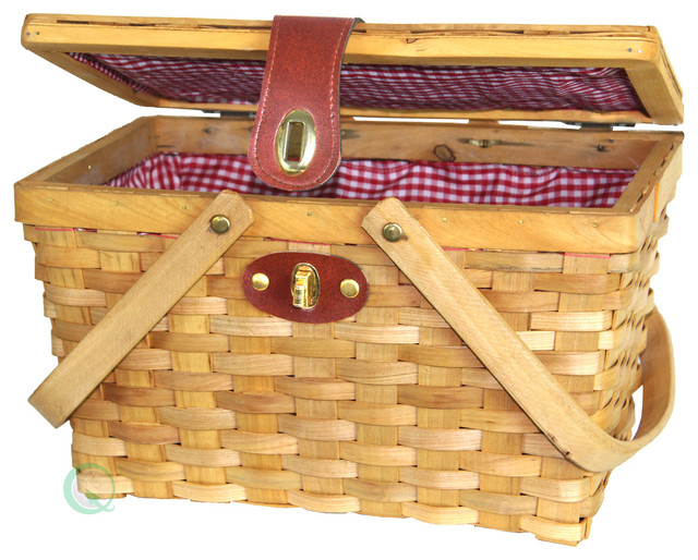 Picnic Basket Gingham Lined With Folding Handles.