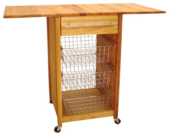 Catskill Craftsmen Basket Butcher Block Kitchen Cart With 2 Drop Leaves  Traditional Kitchen Islands