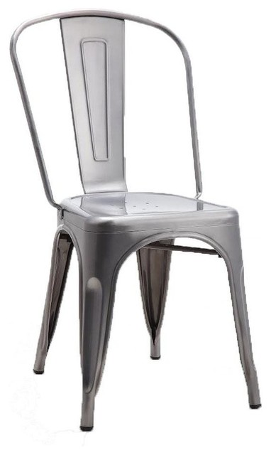 Tolix Style Dining Chair, Brushed Transparent, Set Of 4