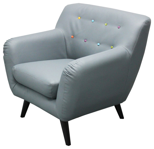 Midcentury Modern Bonded Leather Accent Chair, Gray With Multicolor Buttons  Midcentury Armchairs And