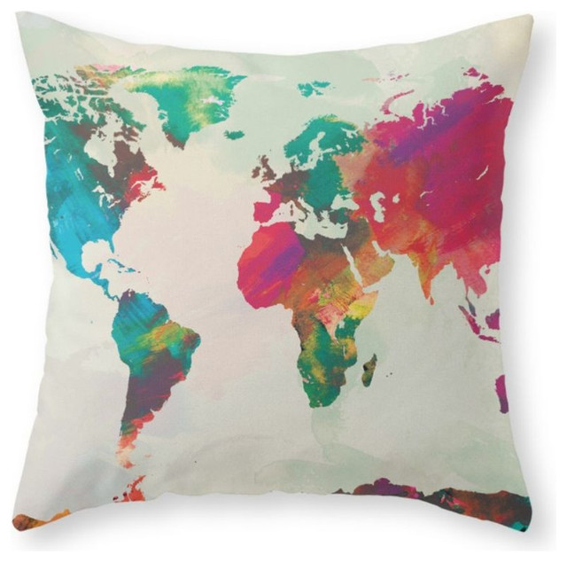 Throw Pillows With World Map : Watercolor World Map Throw Pillow - Contemporary - Decorative Pillows - by Society6