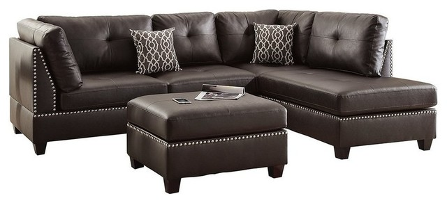 Pleasant Leather Sectional Sofa Set With Left Or Right Hand Chaise And Ottoman Espresso Ncnpc Chair Design For Home Ncnpcorg