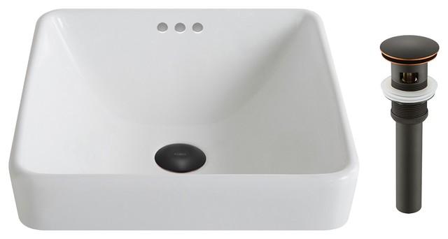 Elavo Ceramic Square Semi-Recessed Sink With Pop-Up, White, Oil Rubbed Bronze.