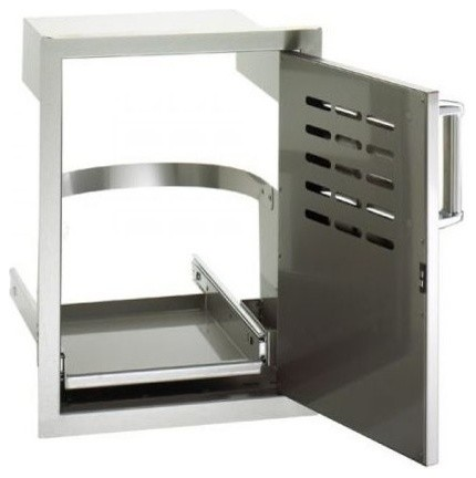 Flush Mount Single Access Right Swing Door With Louvers And Tank Tray.