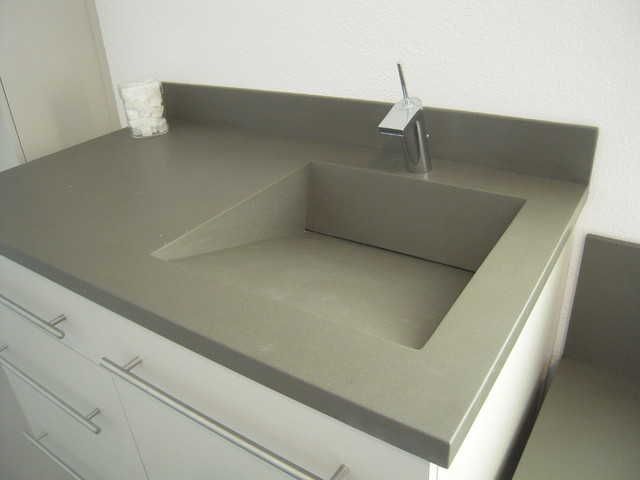 Corian Vanity Ramp Slot Drain Sink Using The Color Concrete