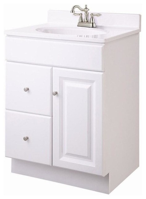 Wyndham Vanity Cabinet In White Finish Transitional Bathroom