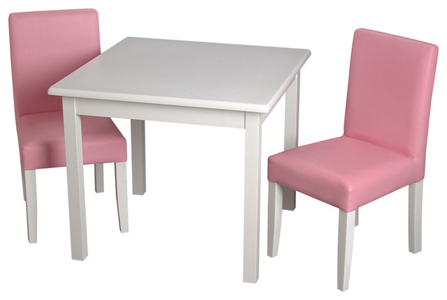 Merveilleux Gift Mark Childrens Square White Table With 2 Pink Completely Upholstered  Chairs