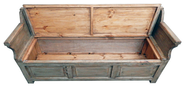 Driftwood Storage Bench Gray Wash Accent And Storage