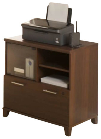 Bush Achieve Lateral File Printer Stand In Sweet Cherry Finish