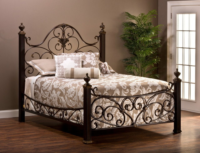 Mikelson Aged Antique Gold Bed, 1648bqr And 1648bkr Queen.