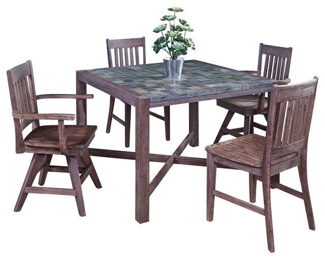 Morocco 5-Piece Indoor/Outdoor Dining Set With 2 Swivel