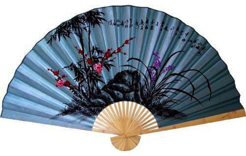 Soft Blue Poem Asian Wall Fan Asian Home Decor By