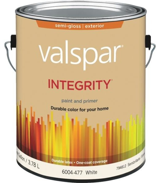 Valspar integrity latex paint and primer semi gloss exterior house paint white primers by for Valspar integrity exterior paint