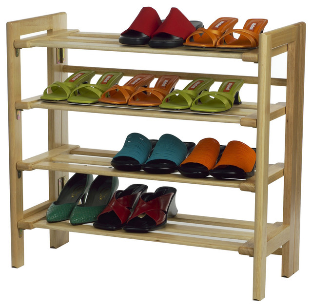 Winsome Wood 4 Tier Shoe Rack With Natural Finish X 82218 Transitional Shoe