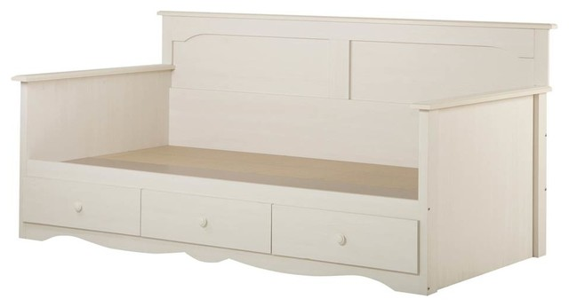 Twin Daybed With Storage In White Wash.