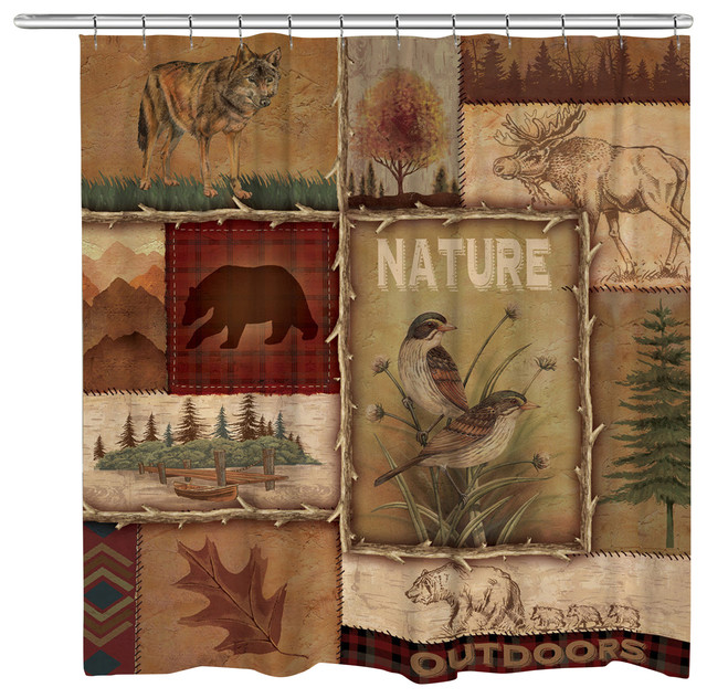 Great Lodge Collage II Shower Curtain Rustic Shower Curtains