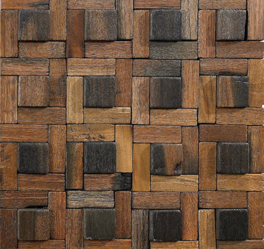 Wood Mosaic Tile Pattern Dotted Square Rustic Mosaic