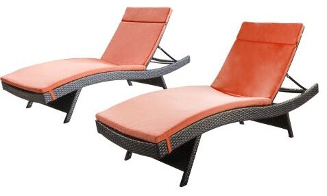 Savana Outdoor Wicker Lounge With Water Resistant Cushion, Set Of 2.