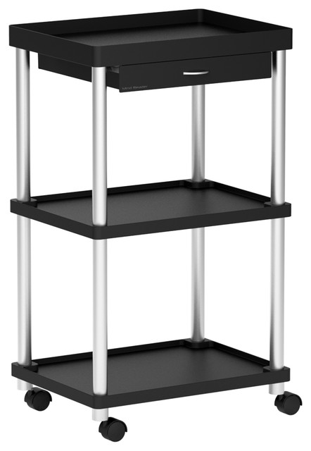 Mind Reader Valet 3 Tier Rolling Coffee Cart, Black