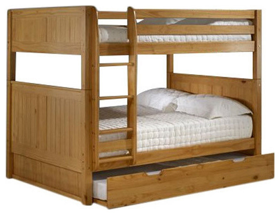Solid Wood Full Over Full Bunk Bed With Twin Size Trundle