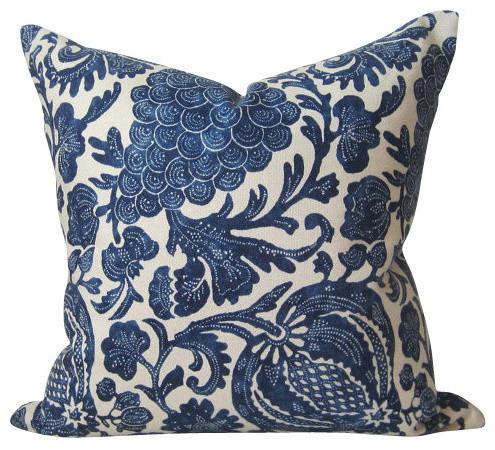indigo batik pillow cover floral indigo blue pillow