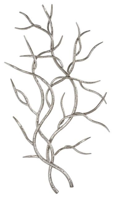 Silver Branch Wall Art, Open Tree Faux Bois, Set Of 2.