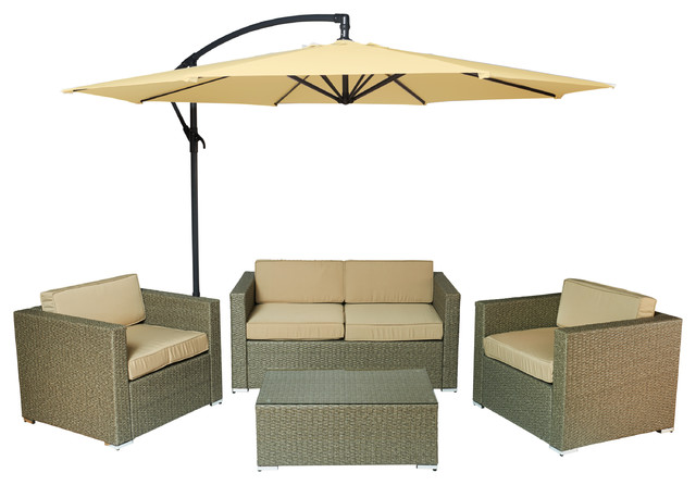 Cane Garden 5-Piece Outdoor Wicker Conversation Set, Light Brown/beige.