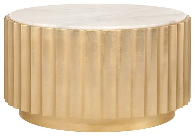 Worlds Away Clove And Marble Round Coffee Table Gold Leaf