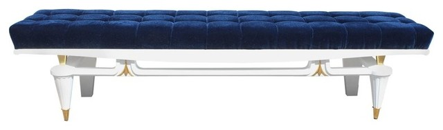 Consigned French Art Deco Snow White Lacquered Long Sitting Bench, Circa 1940s. -1