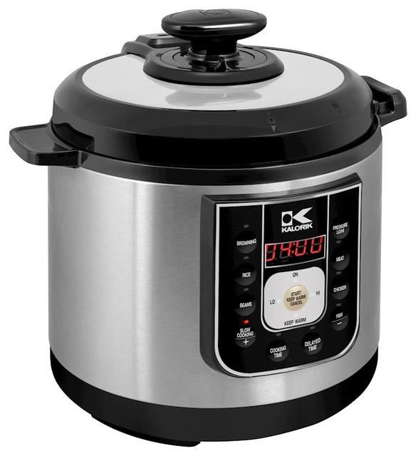 Kalorik Black And Stainless Steel Perfect Sear Pressure Cooker.
