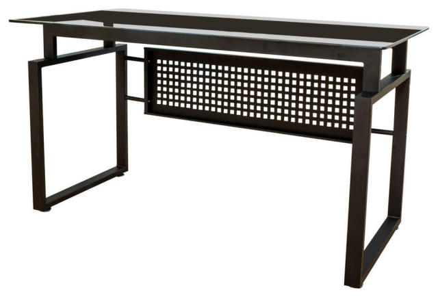Phoenix Modern Tempered Glass Office Computer Desk Contemporary Desks And Hutches By Gdfstudio