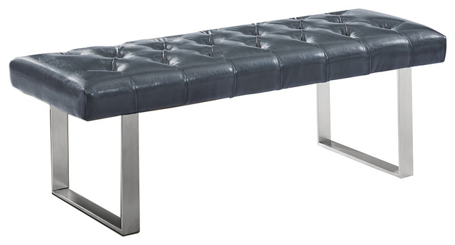 Dwellist Indigo Bench, Gray Faux Leather And Brushed Stainless Steel.