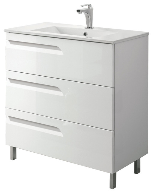 "24 White Bathroom Vanity eviva vitta 24"" white bathroom vanity with sink - bathroom"